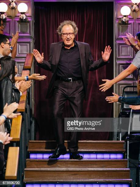 Geoffrey Rush greets the audience during 'The Late Late Show with James Corden' Monday April 24 2017 On The CBS Television Network