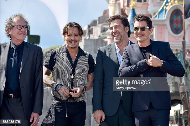 Geoffrey Rush Johnny Depp Javier Bardem and Orlando Bloom attend the European Premiere to celebrate the release of Disney's Pirates of the Caribbean...