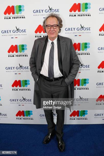 Geoffrey Rush poses ahead of the World Premiere of Jungle at the opening night of the 66th Melbourne International Film Festival on August 3 2017 in...