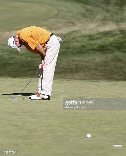 Geoffrey Sisk reacts after missing a birdie putt on the 18th green hole during the final round of the Mylan Classic presented by CONSOL Energy at...