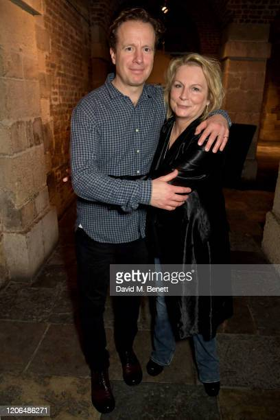 """Geoffrey Streatfeild and Jennifer Saunders attend the press night after party for """"Blithe Spirit"""" at The Cafe at the Crypt on March 10, 2020 in..."""