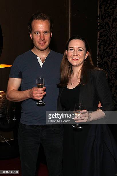 """Geoffrey Streatfeild and Josie Rourke attend the """"My Night With Reg"""" 21st Birthday Gala at The Apollo Theatre on March 31, 2015 in London, England."""