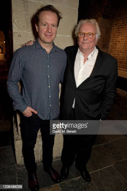 """Geoffrey Streatfeild and Sir Richard Eyre attend the press night after party for """"Blithe Spirit"""" at The Cafe at the Crypt on March 10, 2020 in..."""