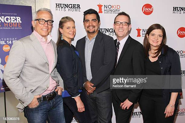 Geoffrey Zakarian Amanda Freitag Aaron Sanchez Ted Allen and Alexandra Guarnaschelli attend the 'Hunger Hits Home' screening at the Hearst Screening...