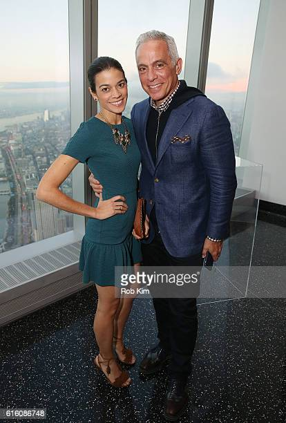 Geoffrey Zakarian and Margaret Anne Williams attend a cocktail reception for Martha Stewart American Made at One World Observatory on October 21 2016...