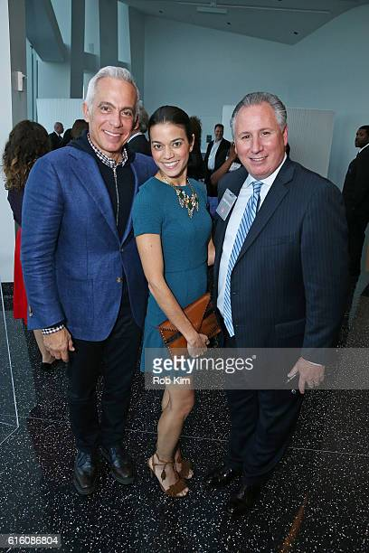 Geoffrey Zakarian Margaret Anne Williams and Daren Mazzucca attend a cocktail reception for Martha Stewart American Made at One World Observatory on...