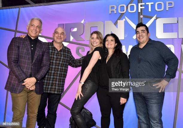 Geoffrey Zakarian Michael Symon Alex Guarnaschelli and Jose Garces pose with fans at the Food Network Cooking Channel New York City Wine Food...