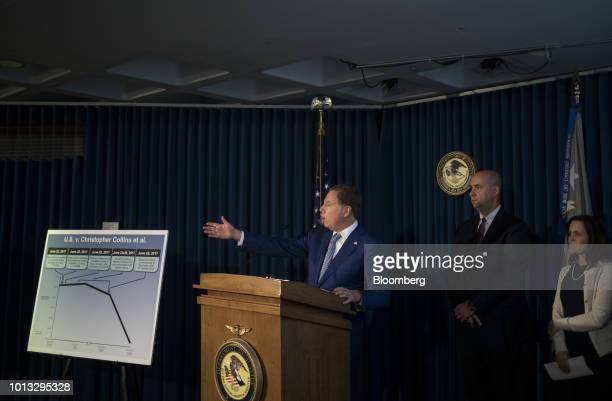 Geoffrey Berman US attorney for the Southern District of New York speaks during a news conference in New York US on Wednesday Aug 8 2018 Berman...