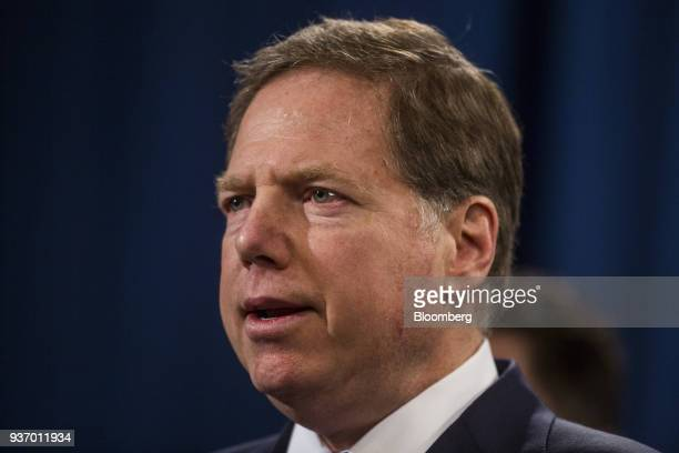 Geoffrey Berman US attorney for the Southern District of New York speaks during a news conference on cyber law enforcement at the Department of...