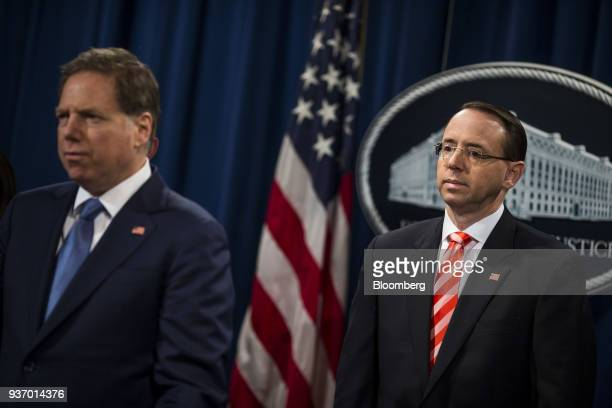 Geoffrey Berman US attorney for the Southern District of New York left and Rod Rosenstein deputy attorney general listen during a news conference on...