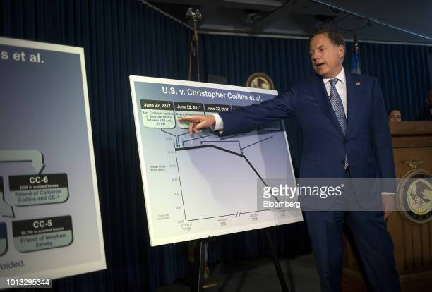 Geoffrey Berman US attorney for the Southern District of New York gestures to a chart while speaking during a news conference in New York US on...