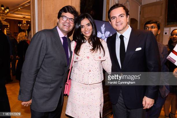 Geoffroy Ader, Dania Samawi and Stephane Aubert attend the Iskenderian Swiss Red Cross Ball and VIP Party on October 11, 2019 in Geneva, Switzerland.