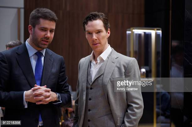 Geoffroy Lefebvre and Benedict Cumberbatch attend during JaegerLeCoultre Polaris at the SIHH 2018 at Pavillon Sicli on January 15 2018 in Les Acacias...