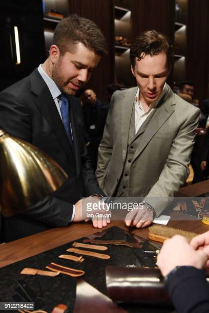 Geoffroy Lefebvre and Benedict Cumberbatch attend JaegerLeCoultre Polaris at the SIHH 2018 at Pavillon Sicli on January 15 2018 in Les Acacias...