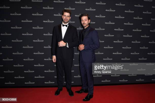 Geoffroy Lefebvre and Diego Luna attend JaegerLeCoultre Polaris Gala Evening at the SIHH 2018 at Pavillon Sicli on January 15 2018 in Les Acacias...