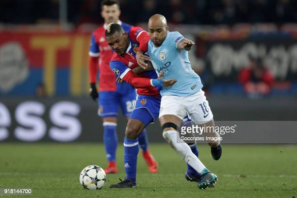 Geoffroy Serey Die of FC Basel Fabian Delph of Manchester City during the UEFA Champions League match between Fc Basel v Manchester City at the St...