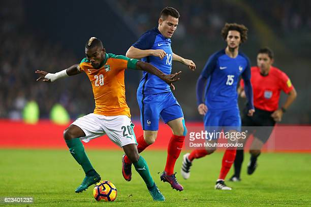 Geoffroy Serey Die of The Ivory Coast battles for the ball with Kevin Gameiro of France during the International Friendly match between France and...