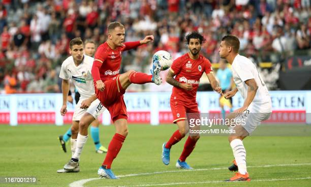 Geoffry Hairemans of Antwerp battles for the ball with Lukas Hejda of Plzen during the UEFA Europa League third qualifying round first leg match...