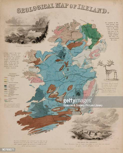Geographical diagram showing colourcoded areas of rock formations in Ireland drawn and engraved by John Emslie The map also shows the famous rock...