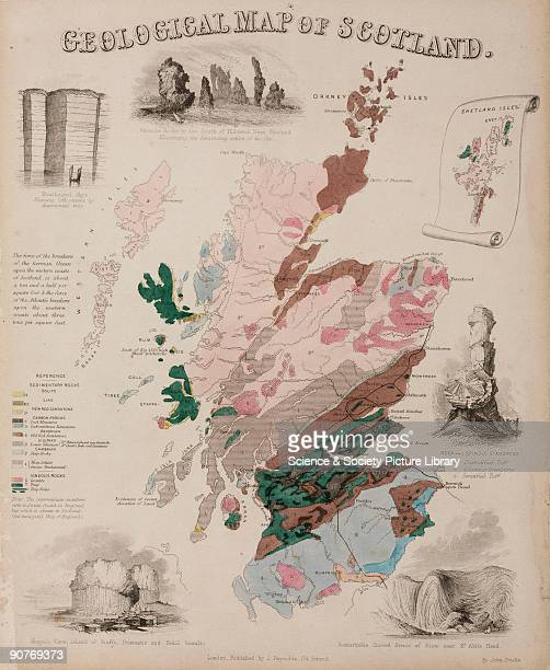 Geographical diagram showing colour-coded areas of rock formations in Scotland, one of a series of 44 educational charts drawn and engraved by John...