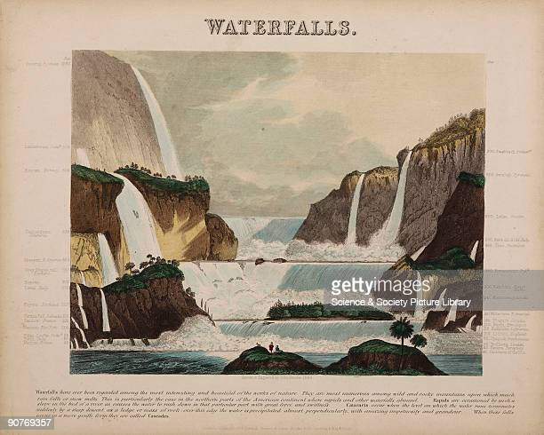 Geographical diagram showing many of the world's waterfalls. From a selection of 44 scientific teaching diagrams, drawn and engraved by John Emslie...