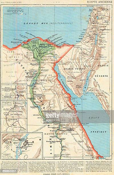 geographical map of ancient Egypt from atlas VidalLablache published by Armand Colin in 1894