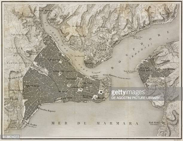 Geographical map of Constantinople Istanbul Turkey from Turquie by Joseph Marie Jouannin and Jules Van Gaver L'Univers pittoresque Europe published...