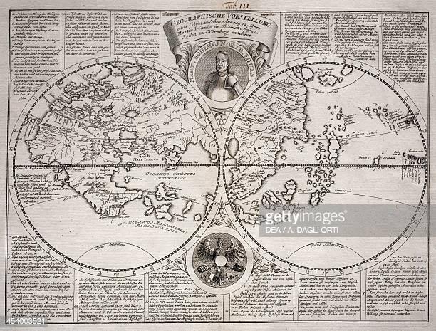 Geographische Vorstellung doublehemispherical world map made by Martin Behaim Nuremberg Germany 15th century