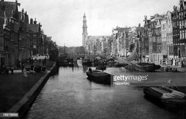 Geography Europe Holland Amsterdam PrinzenGracht showing the tower of Westerkerk Circa 1900