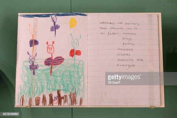 Geography exercise book of Prince William, aged 5, from 1987 is displayed in a new exhibition exploring 250 years of royal childhood in Buckingham...