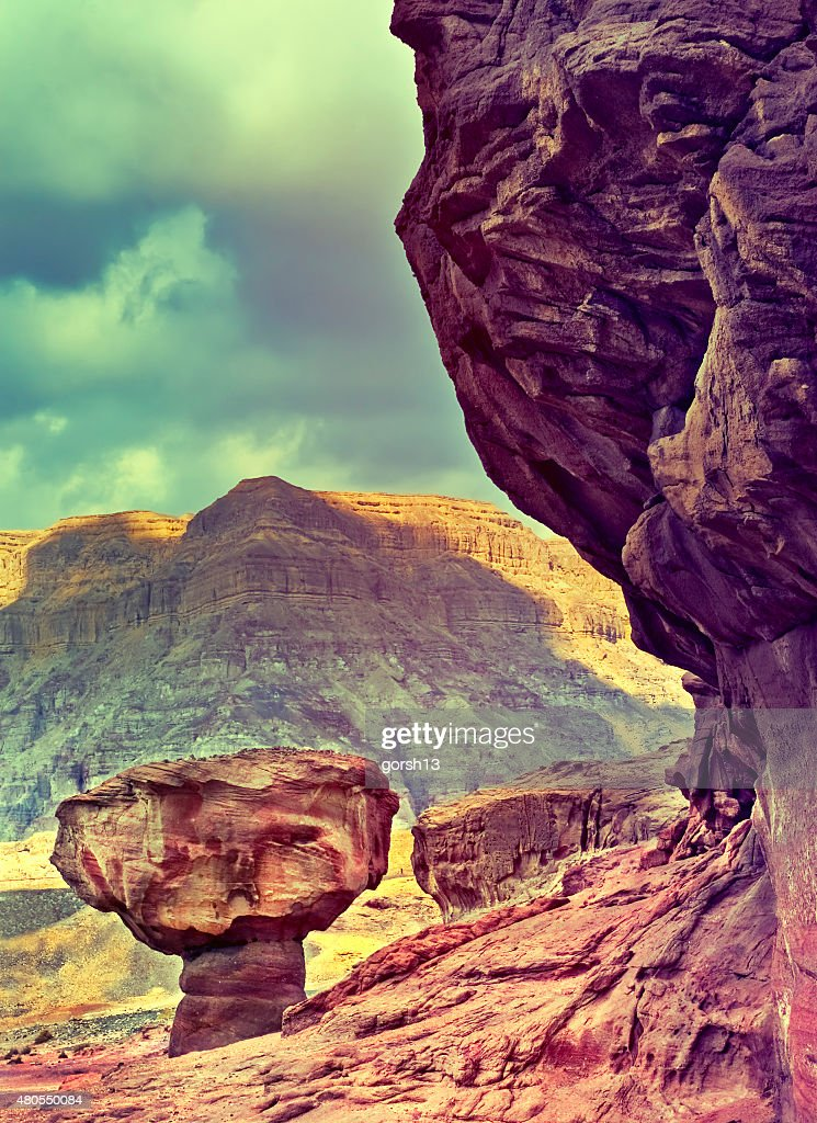 Geological formation in desert park of Timna, Arava valley, Israel : Stock Photo