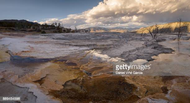 Geological formation of hot spring in Mammoth Hot Springs