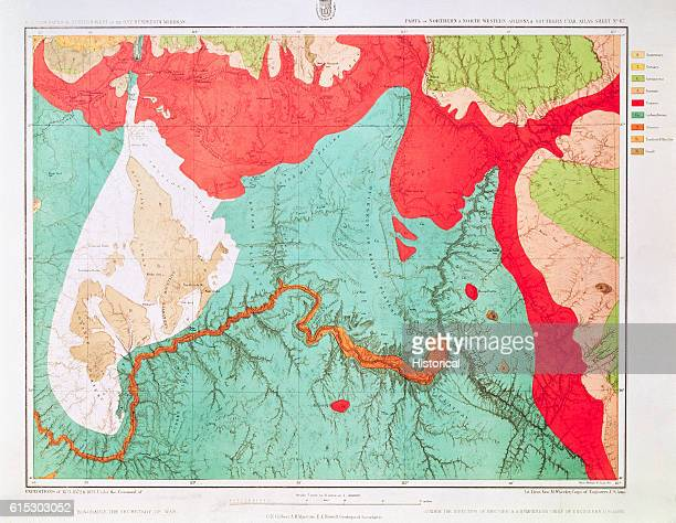 A geological map of the area of the Grand Canyon here called the Canyon of the Colorado from the perspective of directly over the Canyon 1873