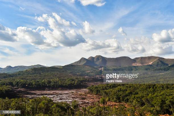 Geological view of the Córrego do Feijão Mine near the town of Brumadinho in the state of Minas Gerias in southeastern Brazil on January 27 a day...