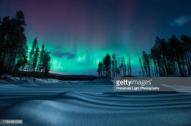 geomagnetic storm at night, penticton, british columbia, canada - thompson okanagan region british columbia stock pictures, royalty-free photos & images