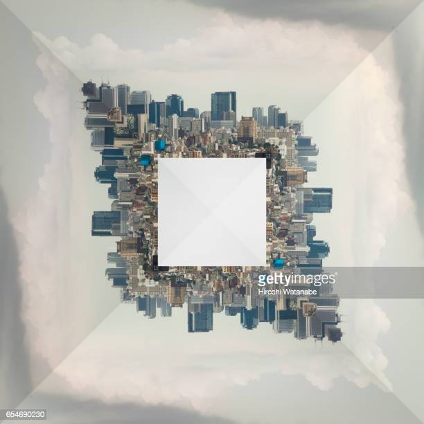 Geometric cityscape, elevated view