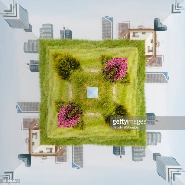 Geometric cityscape with field