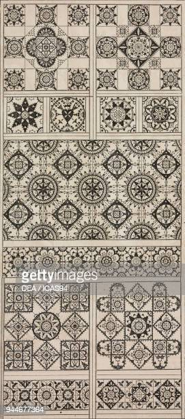 Geometric designs lace from Noveaux Modeles by Johann Siebmacher engraving from L'Art pour Tous Encyclopedie de l'art industriel et decoratif by...