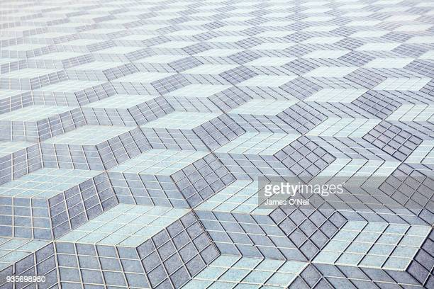 geometric floor tile pattern - illusion stock pictures, royalty-free photos & images