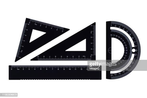 geometric instruments on white background - centimetre stock photos and pictures