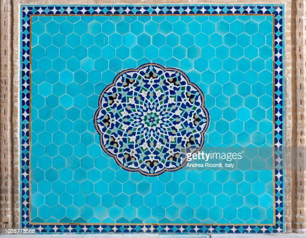 geometric islamic tile work, yazd, iran - mosaic stock photos and pictures