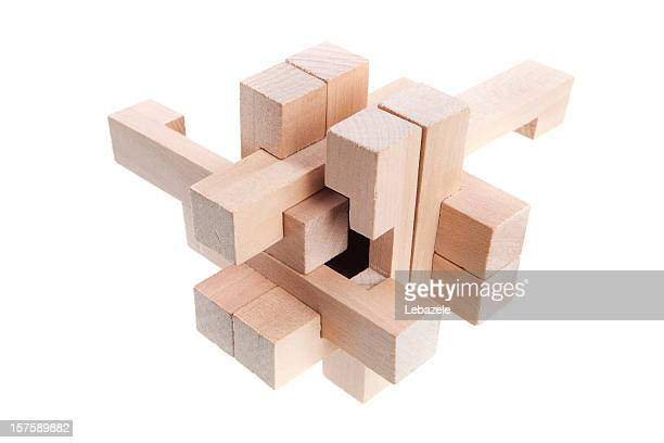 A geometric puzzle made out of wood