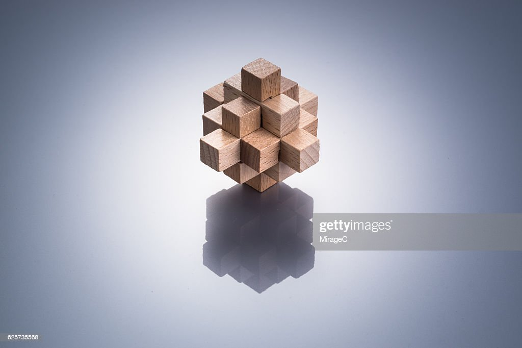 Geometric Puzzle Made Out Of Wood Stock Photo