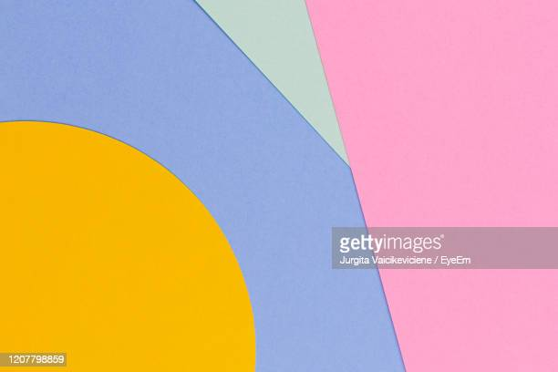 geometric shapes and lines in blue, light green, yellow, pastel pink colours paper background - 物の形 ストックフォトと画像