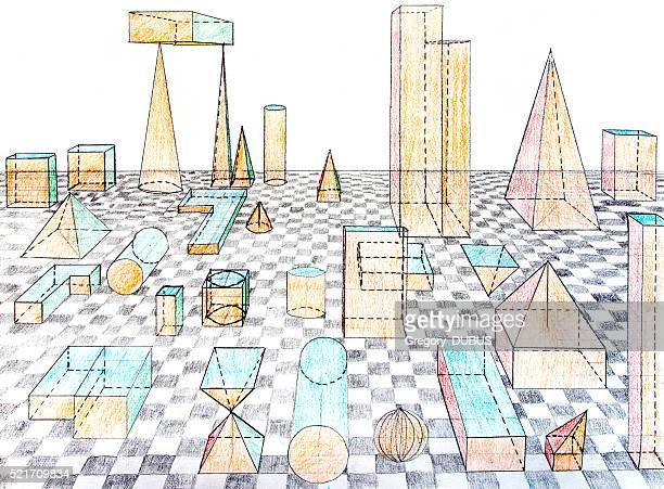 Geometric shapes drawing on grid in three-dimensional perspective