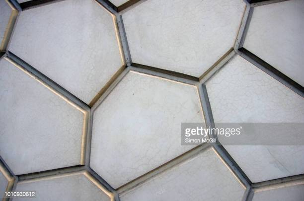 geometric shapes pattern the concrete exterior building wall - grooved stock pictures, royalty-free photos & images