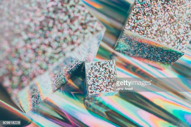 Geometric Shapes Silver Glitter Abstract Background
