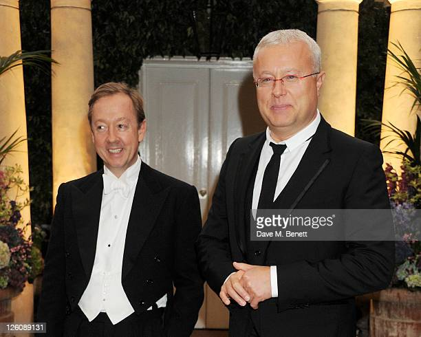 Geordie Greig and Alexander Lebedev attend a champagne reception at the Raisa Gorbachev Foundation Gala held at the Stud House Hampton Court on...