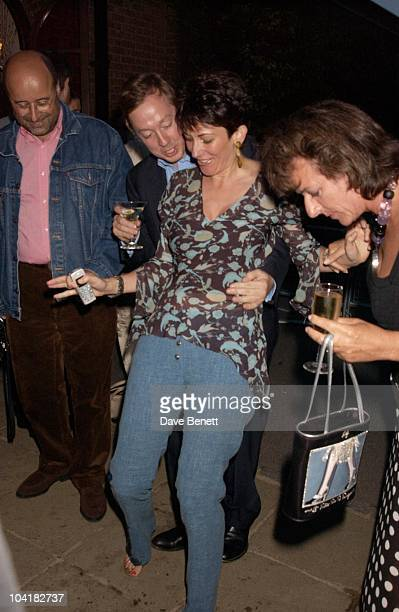 Geordie Greig and Ghislaine Maxwell attend Tatler's 100 Most Invited Party 2003 At The Belvedere Restaurant In Holland Park London