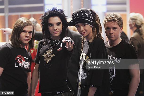 Georg Bill Tom and Gustav of the band Tokio Hotel attend the talk and game show Wetten Dass April 1 2006 in Halle Germany